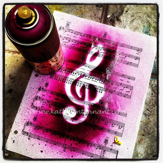 "Spray Music - 7""x7"" Signed Photo Print, Home Decorating, Art Print, Music Art, Music Decor, Art for Music Lover"