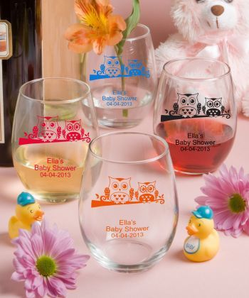 Owl Theme 15 Ounce Stemless Wine Glasses Make the most of your toast with these personalized 15 ounce stemless wine glasses from our Silkscreened Glassware Collection. http://www.favorfavorbaby.com/p-3423S_Owl.htm
