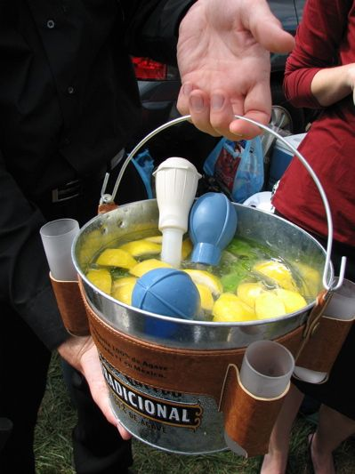 Gin bucket - reminds me of summers at the lake  Saw this pin after a friend told me about gin buckets and had to pin - Cathy, the cabin needs a new tradition...