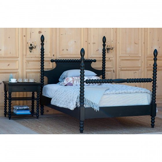 "I just ordered this bed for JJ's room from One Kings Lane - 14% off + free shipping! Now to figure out the rest of the color scheme. Keeping her pink ruffled curtains with brushed gold hardware w/""crystal"" finials and her ivory dresser. Gray for walls? What bedding color(s) that would survive and/or camouflage the ink stains and whatever else she will probably inflict on it?  Bradshaw Kirchofer Gwendoline Spindle Bed Black Walnut stain"