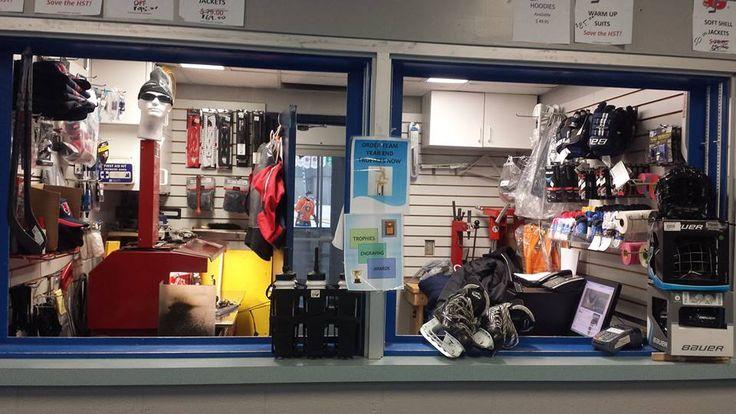 Get your skates sharpened, or purchase items such as hockey tape, helmet straps, visors etc.
