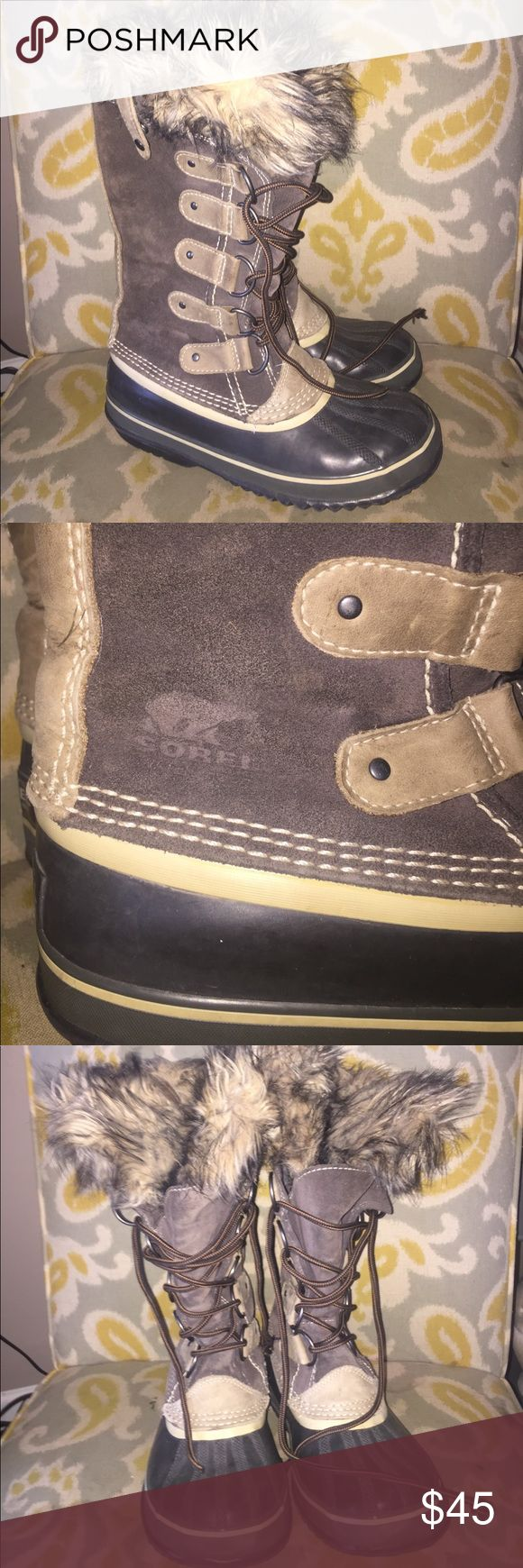 Ladies sorel winter boots Sz 8 lined brown suede Ladies Sorel boots. Size 8. Brown & tan suede. Faux fur lining. Preowned. Good condition. Thanks for looking. sorel Shoes Winter & Rain Boots