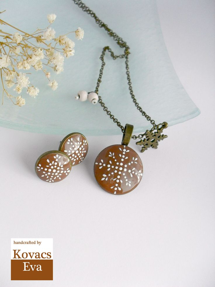 Brown snowflake pendant and earrings.Winter jewelry.Christmas jewelry.Snowflake necklace.