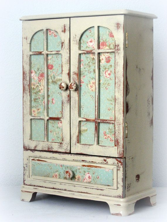 Huge Shabby Chic Jewelry Box Dresser Armoire French by Luxeious