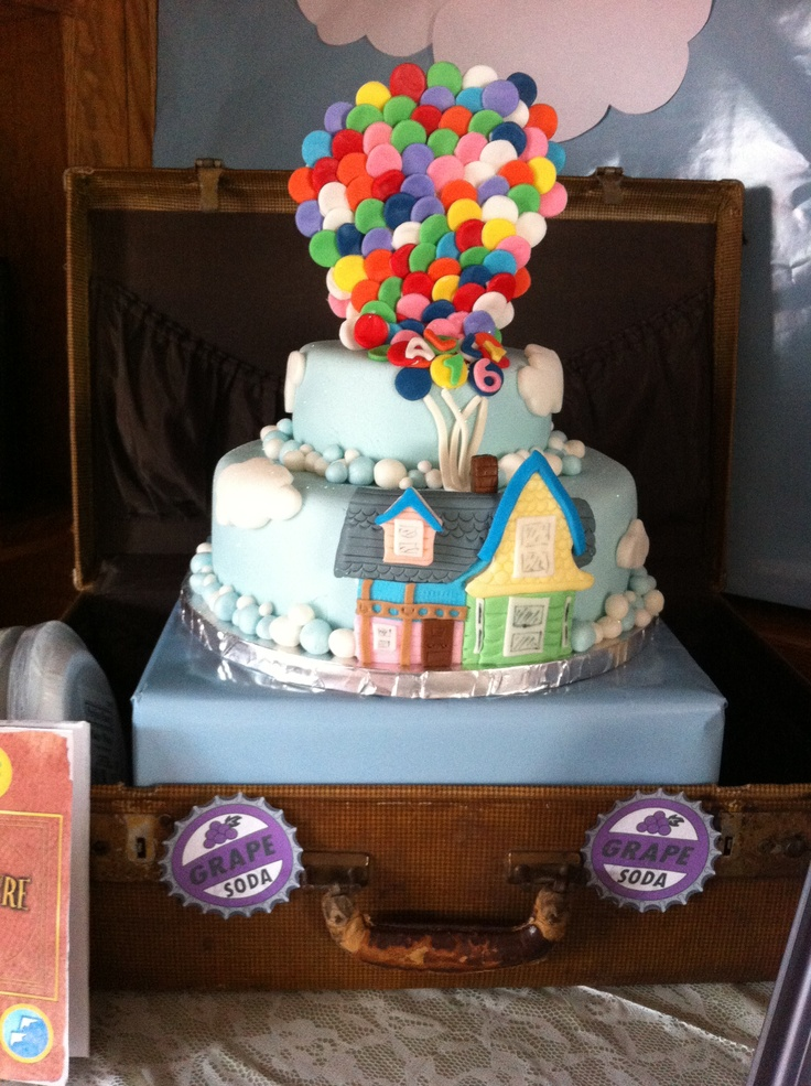 Up birthday theme:) cake sitting inside a vintage suitcase.