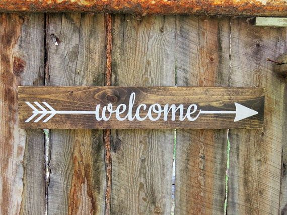 Welcome Sign Arrow Welcome Sign Rustic Wooden by BearlyInMontana