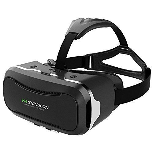 """VR SHINECON 2nd VersionVirtual Reality Glasses Headset for 3D Videos Movies Games Compatible with Most 3.5""""-6.0"""" iPhone, Samsung, HTC, LG, Sony, Moto Smartphone (Black)"""