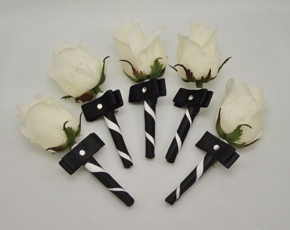 White Rose Boutonnieres Groomsmen by FlowersForThought on Etsy, $65.00