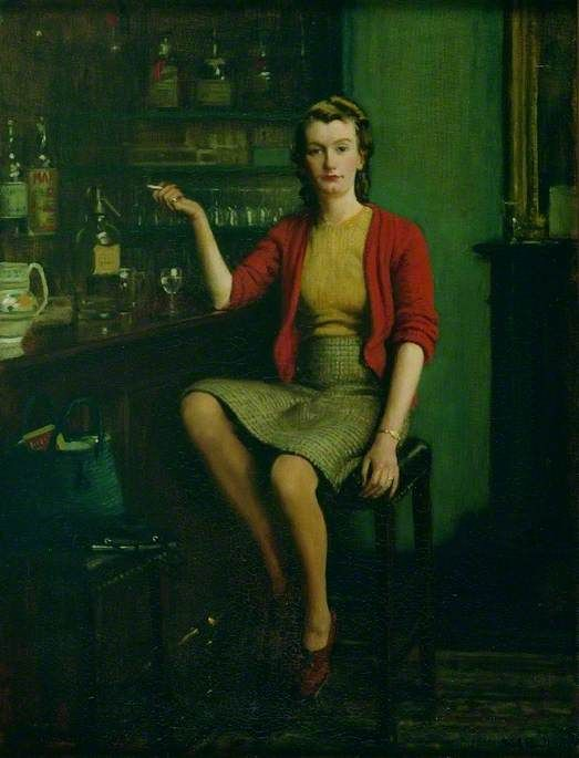 "The more paintings I see by the Yorkshire painter Frederick William Elwell (1870-1958)  the more underrated I think he is. I haven't been able to get the date of ""In a Bar"" but I guess from her clothes it's the 1940s. There's something of the ""I've got a date with a Yank pilot"" about her."