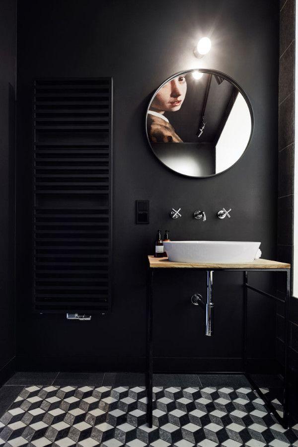 A Minimalist Studio Apartment In Krakow Black Tile Bathroomsmodern