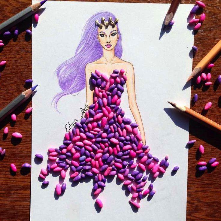 Il dessine des robes à l'aide de nourriture. Bonbons acidulé   fénoweb