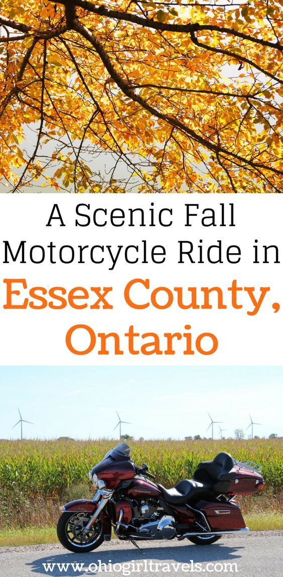Are you looking for a weekend trip to Ontario in the fall? What better way to see the fall colors than a motorcycle ride through Windsor and Essex County with the Cruise the Coast campaign. Click to find out the rider approved route and biker friendly stops in our biker itinerary through Essex County, Ontario. Don't forget to save this to your travel board! Motorcycle itinerary | cruise the coast campaign | biker friendly stops in Ontario | motorcycle rider approved routes | Canada Travel