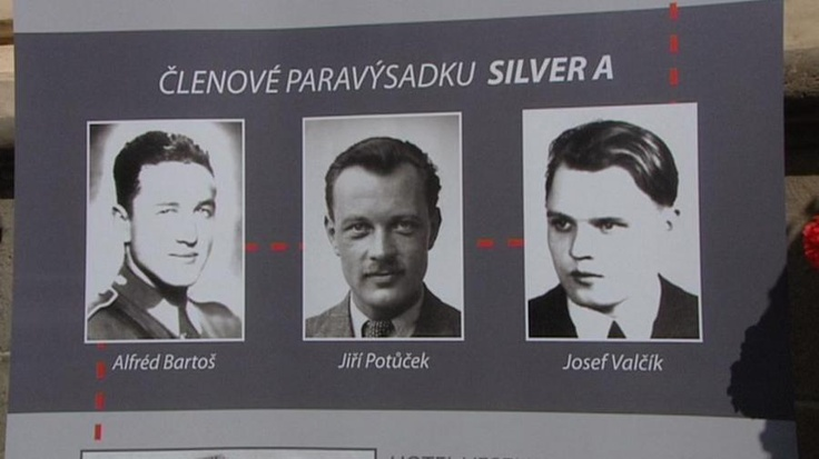 Members of Silver A group: Alfréd Bartoš, Jiří Potůček and Josef Valčík. Josef Valčík committed suicide (despite his strict Catholic beliefs) together with paratroopers from other groups  in the crypt of church of Saints Cyril and Methodius in Prague on June 18, 1942.