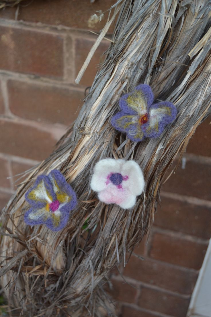 Handmade Felted Pansy Flower Brooch by NatalieWoodKnits on Etsy
