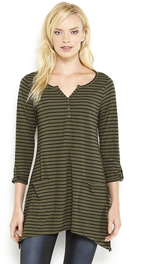 August Silk Stripe Asymmetrical Tunic on shopstyle.com