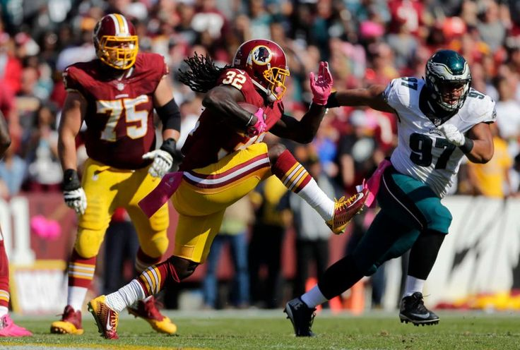 Eagles vs. Redskins:     October 16, 2016   -  27-20, Redskins  -     Washington Redskins running back Rob Kelley (32) rushes the ball in the first half of an NFL football game against the Philadelphia Eagles, Sunday, Oct. 16, 2016, in Landover, Md.