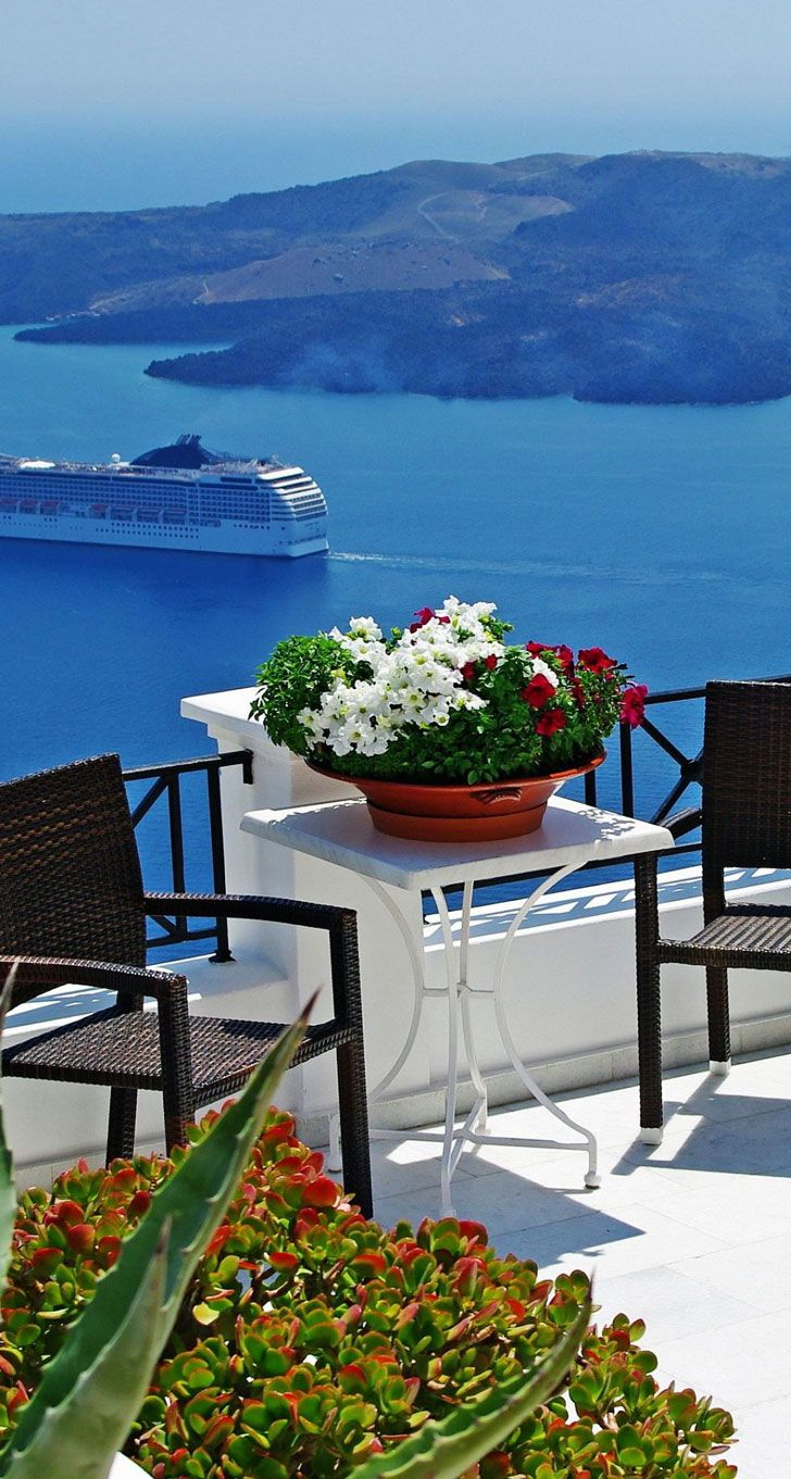 "View for 2, Fira, Santorini, Greece |   ❥""Hobby&Decor "" 