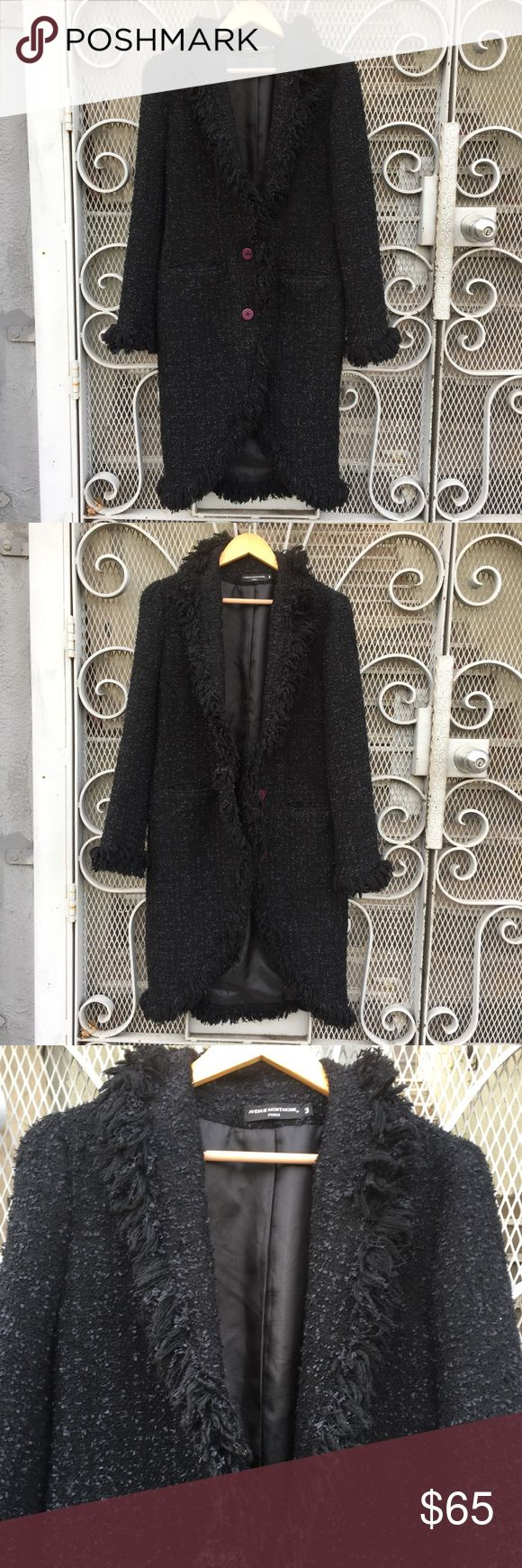 Avenue Montaigne Parks wool tweed long shag coat Great condition. Size 3 (L). Very Chanel like with its tweed boucle and shaggy collar. No try ons or trades but offers welcome Barneys New York Jackets & Coats