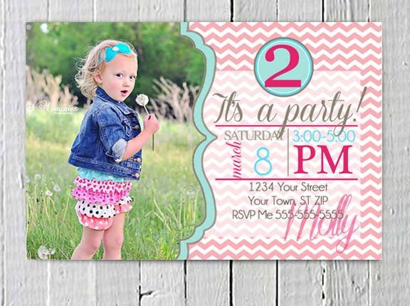 Girls Birthday Invitation Custom Personalized Photo JPG Printable, Birthday Party, Pink Aqua Chevron, Princess party, girl party supplies by LuxePartySupply on Etsy https://www.etsy.com/listing/185056451/girls-birthday-invitation-custom
