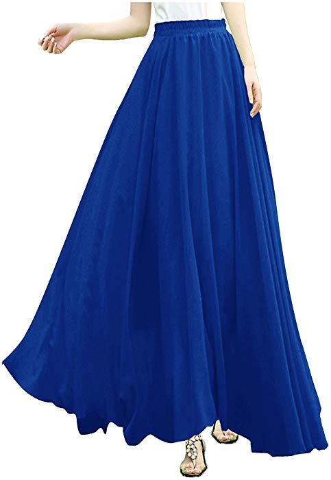 72741e0eeb v28 V28Women Full/Ankle Length Elastic Pleated Retro Maxi Chiffon Long  Skirt (XS, Blue) at Amazon Women's Clothing store: