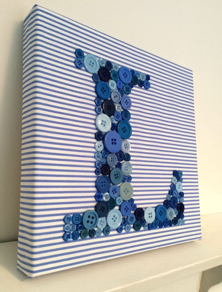 Letter L initial, Button Canvas, Baby Boy Bedroom/Nursery. Baby Shower Gift.