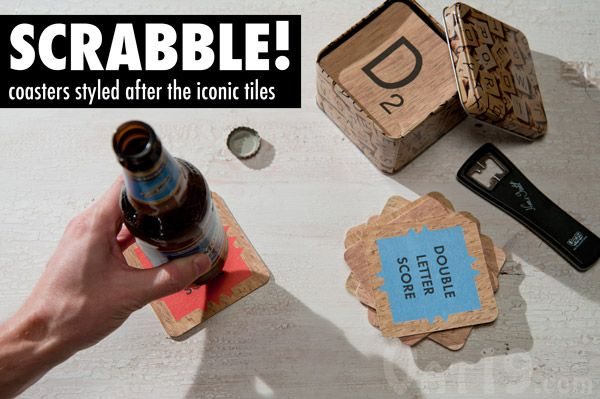Double-Sided Scrabble Coasters