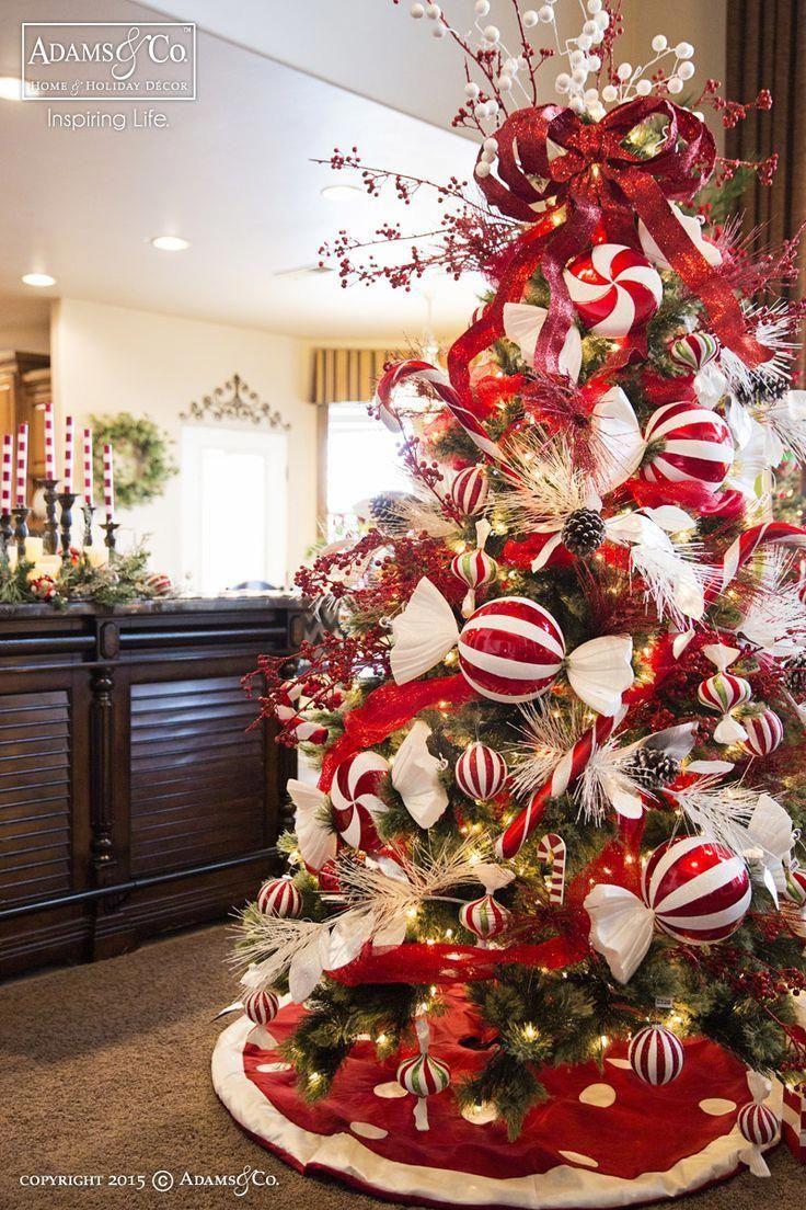 Christmas Tree Adams Co Peppermint Christmas Tree 2015 Christmas Adamsandcompany A Con Imagenes Arboles De Navidad Elegantes Navidad Elegante Navidad Roja