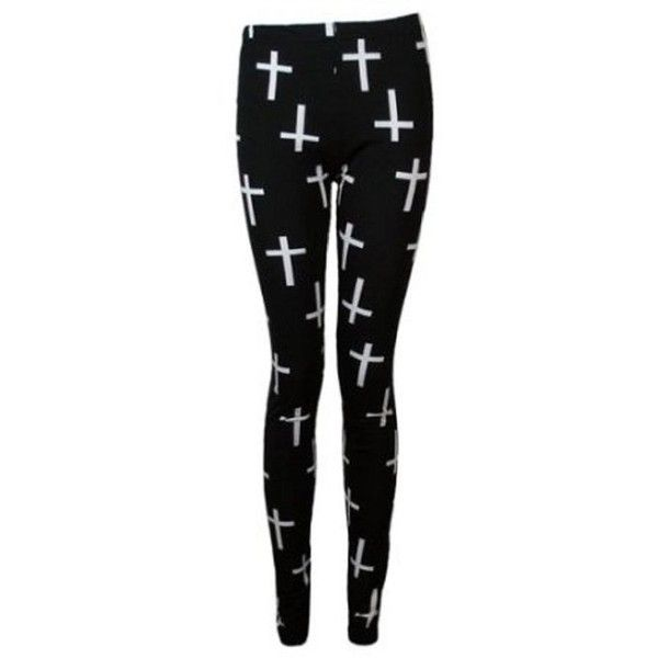 The Home of Fashion New Ladies Black Cross Print Gothic Style Womens... ($2.91) ❤ liked on Polyvore featuring pants and leggings