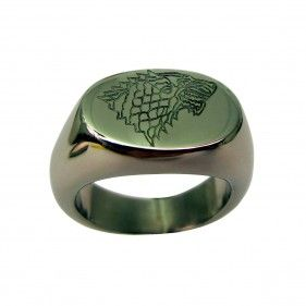 A Game of Thrones ring with the House Stark banner