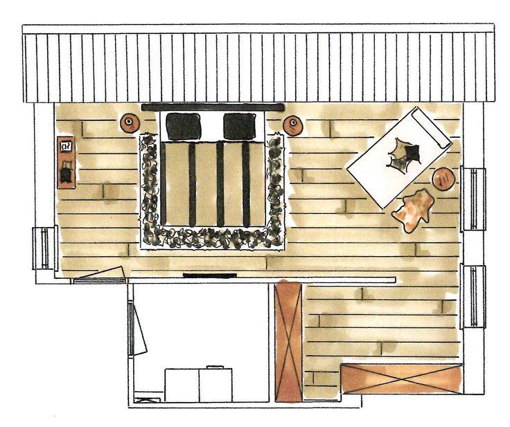 Interieuradvies totaal plan (2D plattegrond slaapkamer)