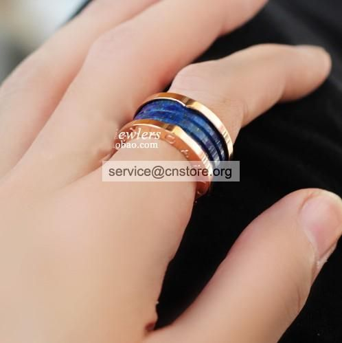 replica spring ring ceramic marble blue rose gold ring on the ring