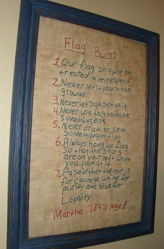 """Miss Fannie Turgeon's """" FLAG RULES"""" Framed Hand Stitched Sampler"""