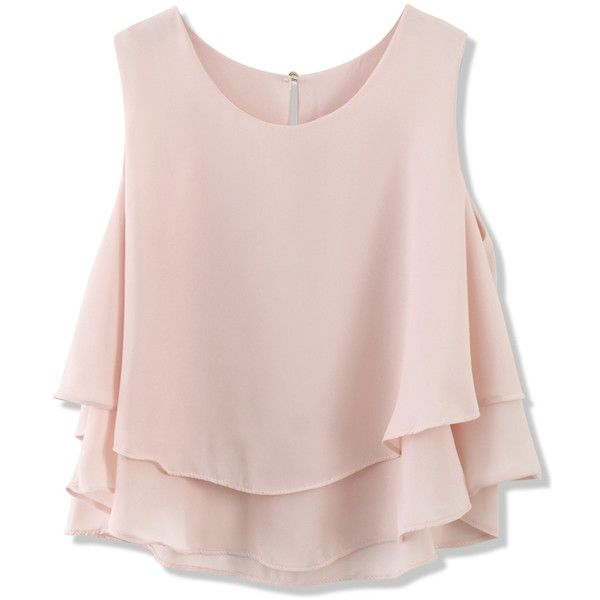 Chicwish Layered Chiffon Crop Top in Pastel Pink ($34) ❤ liked on Polyvore featuring tops, shirts, crop tops, tank tops, pink, loose tank, pink shirt, chiffon tank, loose shirts and loose fitting tank tops