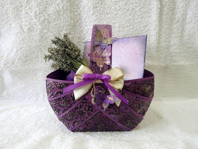 Purple embossed gift basket.