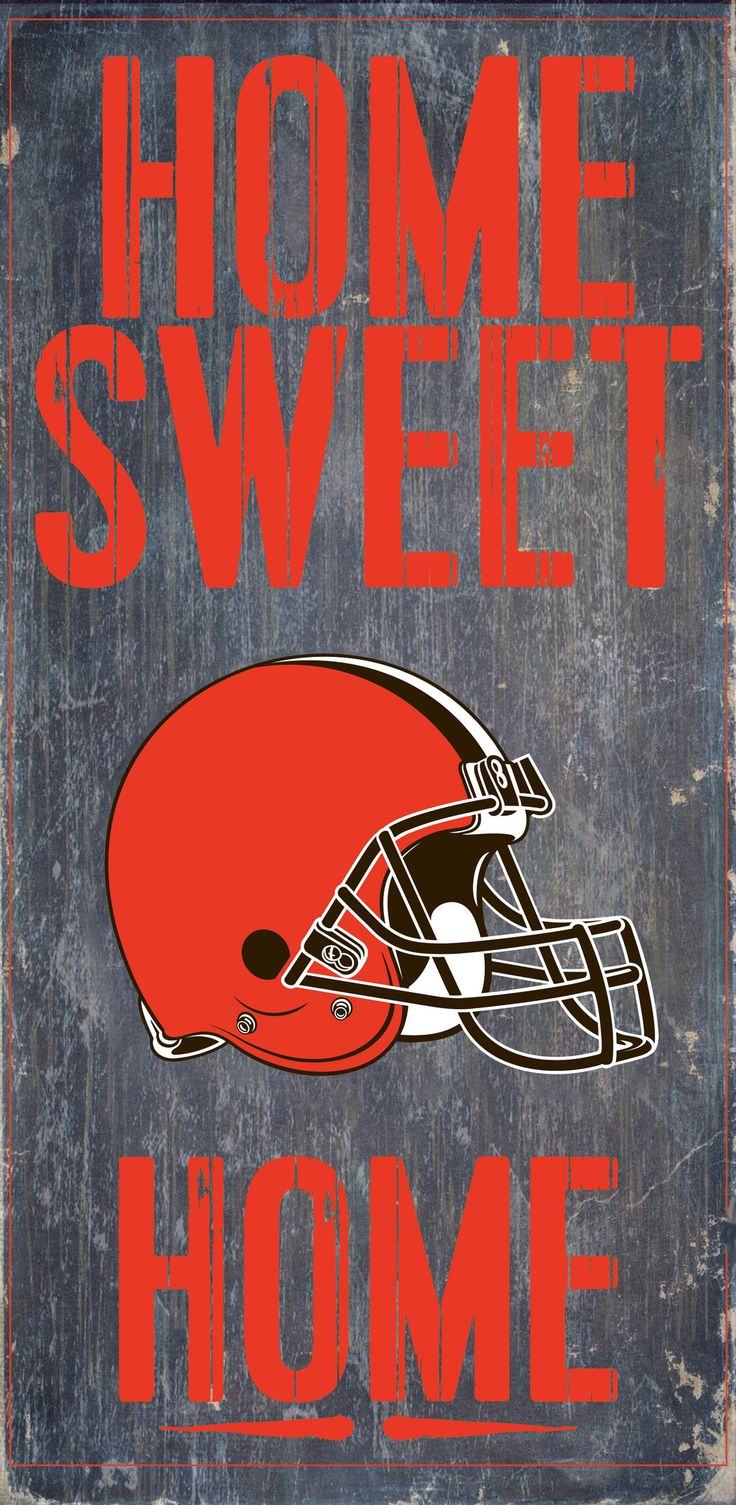 "Welcome NFL fans enjoy your Cleveland Browns Officially Licensed team tailgationg gear. Cleveland Browns Wood Sign - Home Sweet Home 6""x12"""