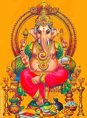 Colourful image of Lord Vinayagar, with a deep mustard-gold background and a combination of prayer material at the Holy Feet!!!