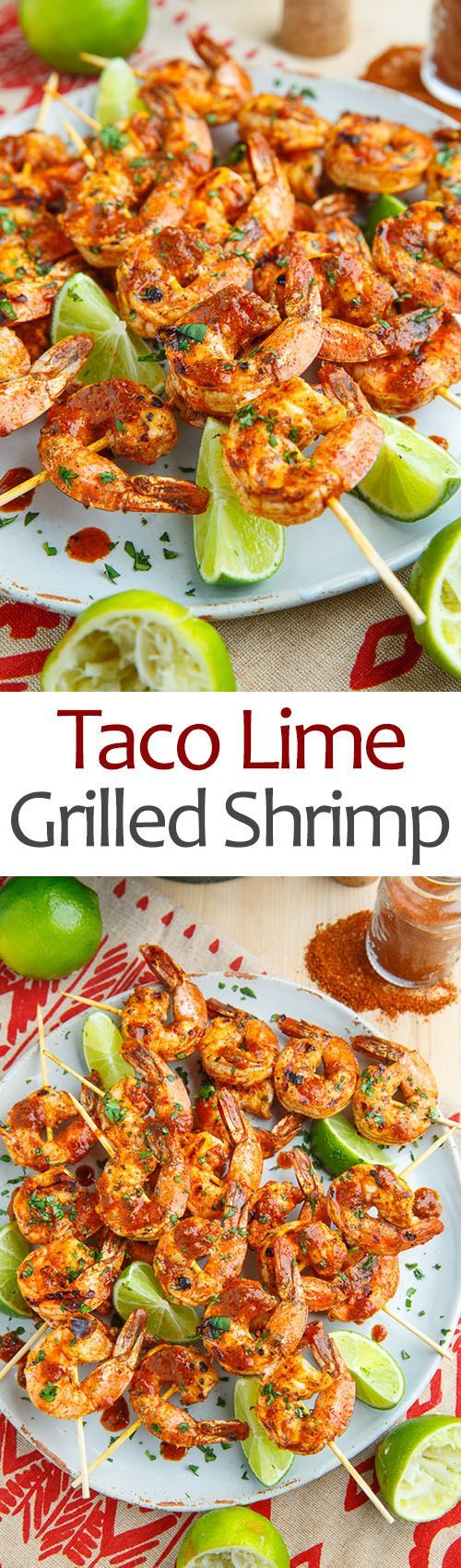 Taco Lime Grilled Shrimp recipe! These would be Soooo delicious!! Really simple and quick to make too- only 10 minutes prep!!! #taco #shrimp #recipe
