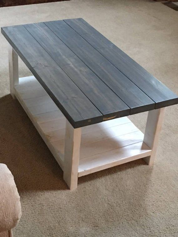 Fatigued Rustic Coffee Table With Shiplap Bottom Shelf
