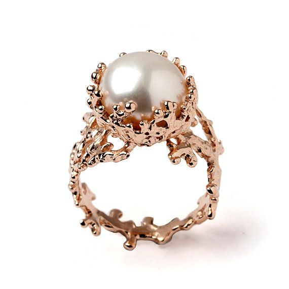 CORAL Rose Gold Ring Gold Pearl Ring Pearl by AroshaTaglia on Etsy