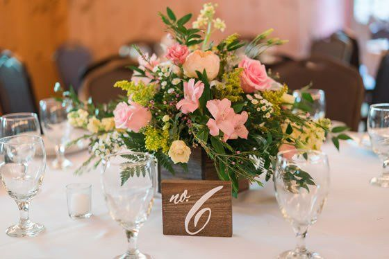 Wooden table numbers are the perfect rustic touch! In the Woods Weddings Atlanta.