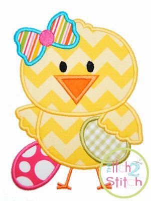 Easter Chick Girl Applique Design For Machine by TheItch2Stitch, $4.00