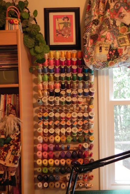 awesome sewing room ideas from Polly at Aunt Polly's Porch.  http://alittlebitbiased.blogspot.com