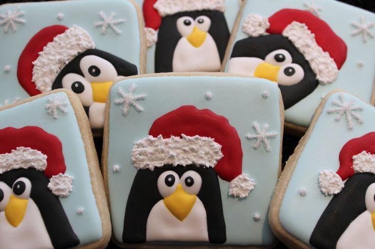 Penguin Cookies, Christmas Cookies, Holiday Cookies, Winter Cookies, Custom Cookies, Decorated Cookies, Christmas Cookie Favors by 4theloveofcookies on Etsy https://www.etsy.com/listing/169539248/penguin-cookies-christmas-cookies