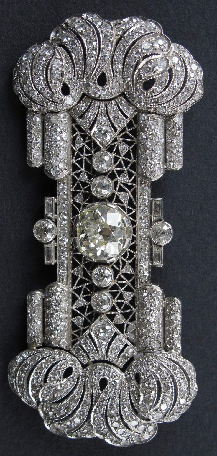 An Art Deco platinum and diamond brooch, French, circa 1920. #ArtDeco #brooch