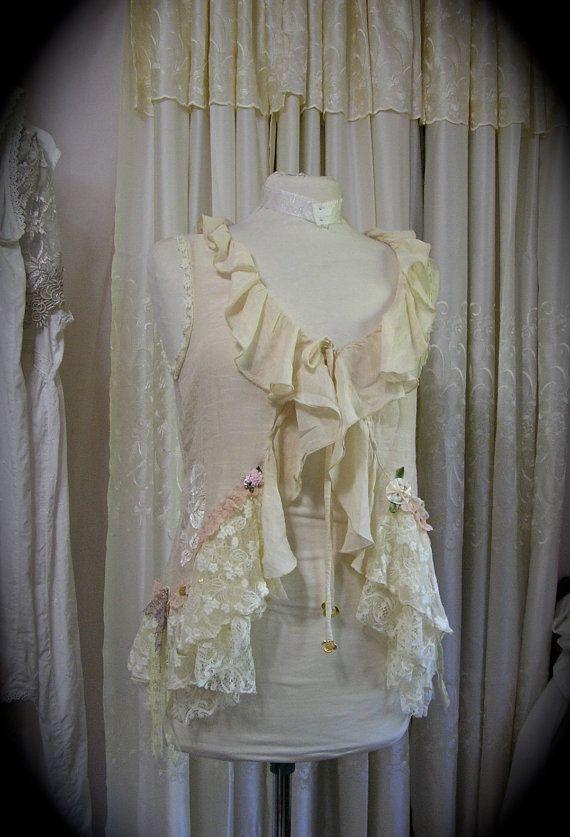Ruffle Lace Top Shabby Feminine Romantic Soft Creme Laces Embellished Upcycled Altered Womens