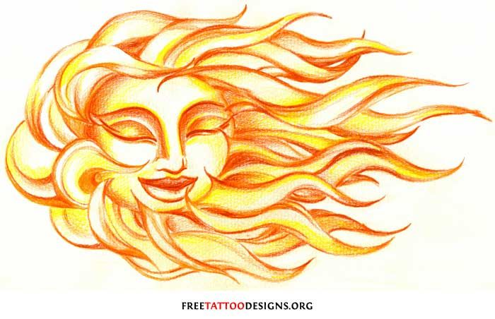 65 Sun Tattoos | Tribal Sun Tattoo Designs - again, don't want a face, but like this design a lot