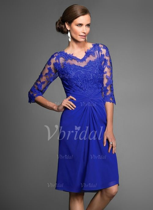 Sheath/Column V-neck Knee-Length Ruffle Chiffon Lace Zipper Up Covered Button Sleeves 3/4 Sleeves No Royal Blue Spring Summer Fall General Mother of the Bride Dress