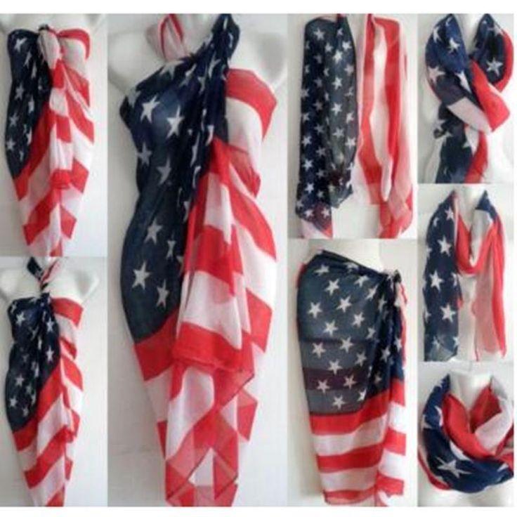 "68"" Big Vintage Patriotic American Flag Print Scarf Warp Shawl Star Stripe #DivazFashionCreations #Scarf"