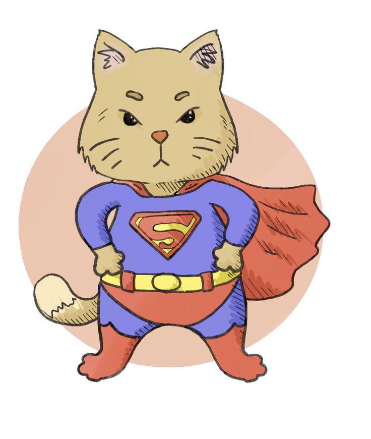 "кот, супермен, art, рисунок, ""принцесса Надя"""