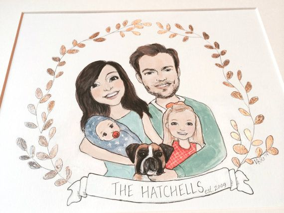 Custom Family Portrait Illustration with Silver Leaf Crest